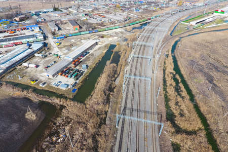 Top view of the railway and the surrounding area Imagens