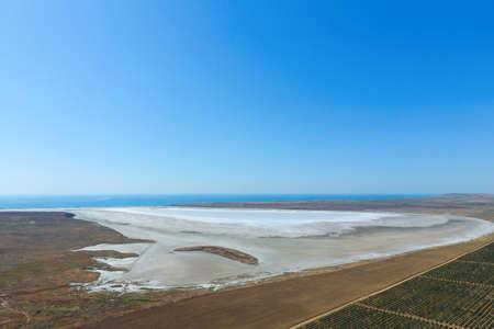 Vineyards near the salt lake. View from above. Reklamní fotografie
