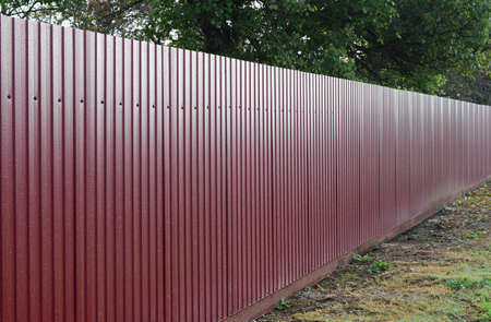 Diagonal pattern of metal profile. Fences from the galvanized iron painted by a polymeric covering. Zdjęcie Seryjne