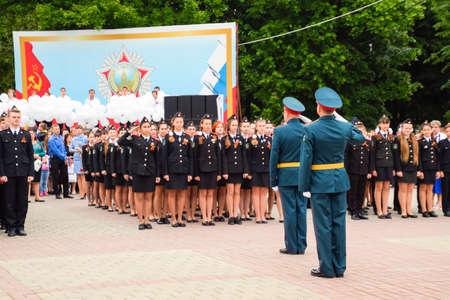 Slavyansk-on-Kuban, Russia - May 9, 2018: Festive parade on May 9 in Slavyansk-on-Kuban, in honor of Victory Day in the Great Patriotic War. Standard-Bild - 129182373