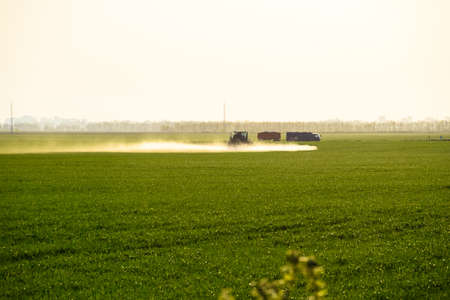 Tractor with the help of a sprayer sprays liquid fertilizers on young wheat in the field. The use of finely dispersed spray chemicals. Standard-Bild - 122470936