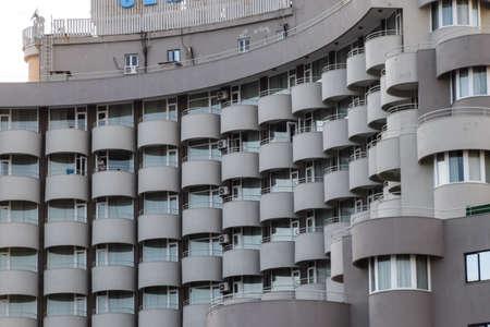 Antalya, Turkey - May 19, 2019: Hotel on the coast of Antalya in Turkey, hotel balconies.
