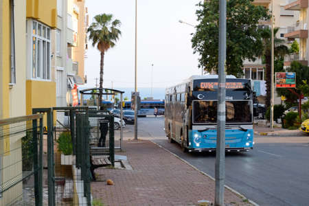Antalya, Turkey - May 19, 2019: Bus on the streets of Antalya. Tourist city Antalya