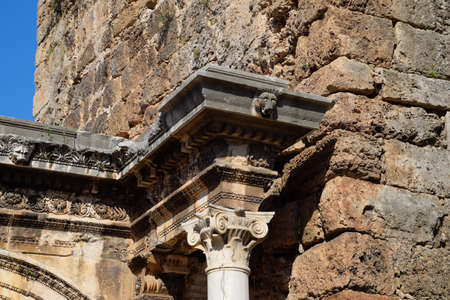 Element columns of ancient structures. Hadrians Gate, Antalya landmark. Ancient construction of the Gate of Hadrian Stock fotó