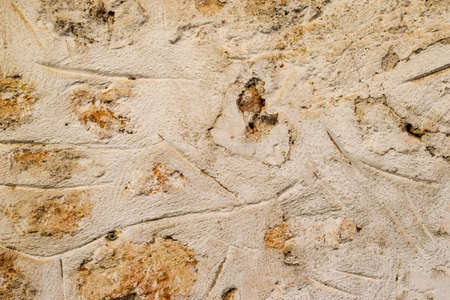 Background texture of an old masonry wall of limestone and cement. Stock Photo - 124528631