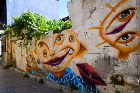 Antalya, Turkey - May 19, 2019: Graffiti on the wall of an old building in the old town of Kaleici.