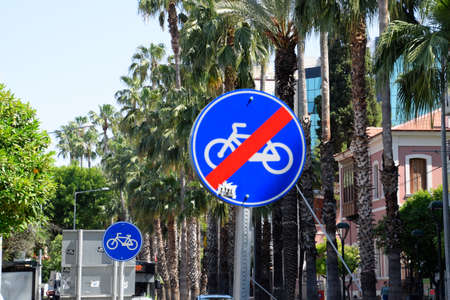 Antalya, Turkey - May 19, 2019: Road sign end of the bike path. Street in the city of Antalya.