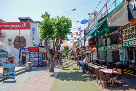 Antalya, Turkey - May 19, 2019: The streets of Antalya, roadway and cycle paths with pedestrian sidewalks.
