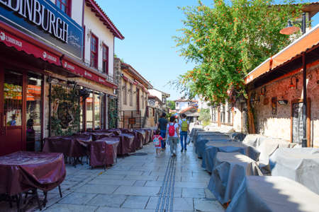 Antalya, Turkey - May 19, 2019: The streets of the old town of Kaleici. Ancient district in the city of Antalya.
