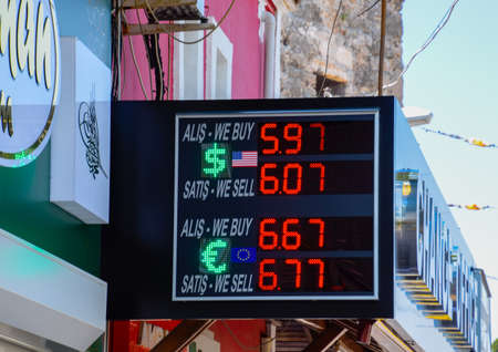 Antalya, Turkey - May 19, 2019: Currency exchanger, exchange rates on the scoreboard on the streets of Antalya, Turkey Redactioneel