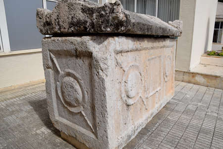 Marble sarcophagus at the entrance to the museum of antiquities of Antalya.