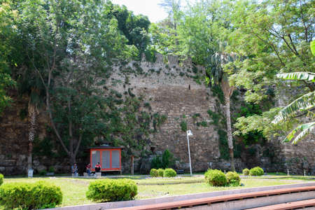 Antalya, Turkey - May 19, 2019: The defensive wall in Kaleici, the old city and the ancient wall.