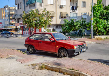 Antalya, Turkey - May 19, 2019: Car Lada 2108. Eight, peoples youth car stands on the street in Antalya.