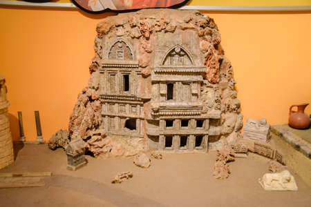 Antalya, Turkey - May 20, 2019: Modeling of ancient ancient buildings of man. Room with modeling in the Museum of Antalya