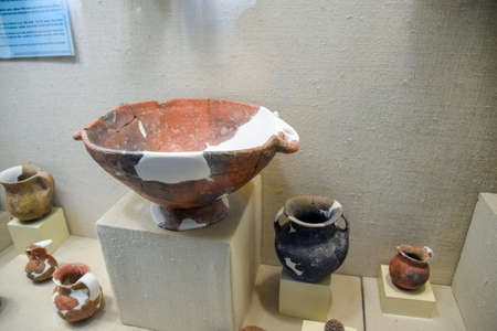 Antalya, Turkey - May 20, 2019: Ancient pottery, vessels and amphorae in Antalya Museum of Antiquities.