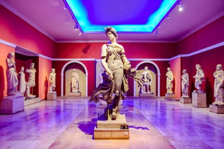 Antalya, Turkey - May 20, 2019: Marble statues of gods and emperors of antiquity in the Museum of Antiquities of Antalya, Turkey. Stock Photo - 130523935