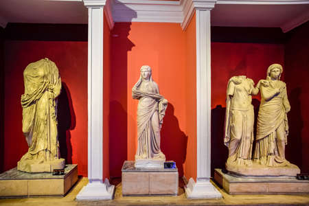 Antalya, Turkey - May 20, 2019: Marble statues of gods and emperors of antiquity in the Museum of Antiquities of Antalya, Turkey. Editorial
