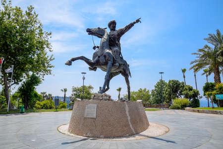 Antalya, Turkey - May 20, 2019: Monument to Sultan Seljuk. Sultan on horseback Turkey Antalya