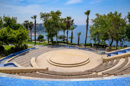 Street amphitheater on the waterfront in the park Antalya.
