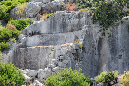 The ruins of the city of Mira, Kekova, an ancient megalithic city destroyed by an earthquake.