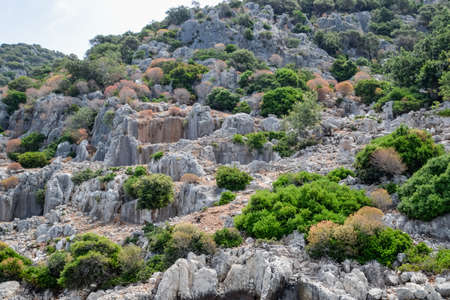 The ruins of the city of Mira, Kekova, an ancient megalithic city destroyed by an earthquake. Stockfoto - 127922255