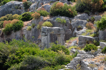 The ruins of the city of Mira, Kekova, an ancient megalithic city destroyed by an earthquake. Stockfoto - 127922173
