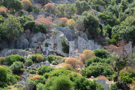 The ruins of the city of Mira, Kekova, an ancient megalithic city destroyed by an earthquake. Stockfoto - 127922220