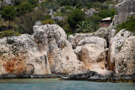 The ruins of the city of Mira, Kekova, an ancient megalithic city destroyed by an earthquake. Stockfoto - 127922227