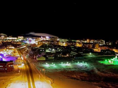 Night Salekhard. Night city in colorful lights. Salekhard is the capital of the Yamal-Nenets Autonomous District.