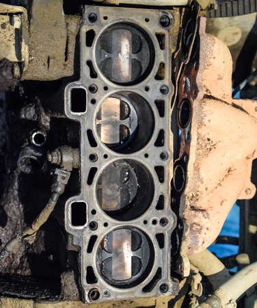 Disassembled car engine. Engine repair VAZ. Old car Stock fotó - 129487808
