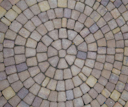 Background texture of paving slabs in circles. Stockfoto - 129386424