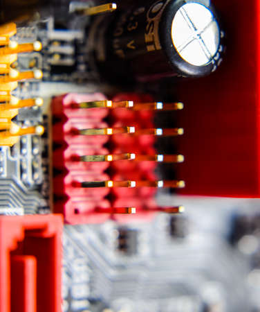Electronic board with electrical components. Electronics of computer equipment. Stock fotó - 129487597
