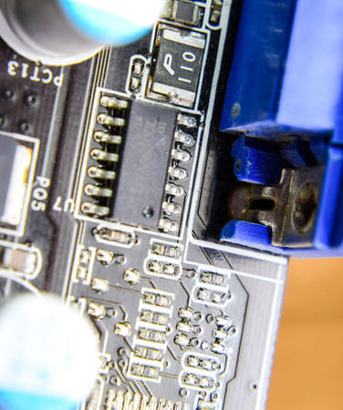 Electronic board with electrical components. Electronics of computer equipment.