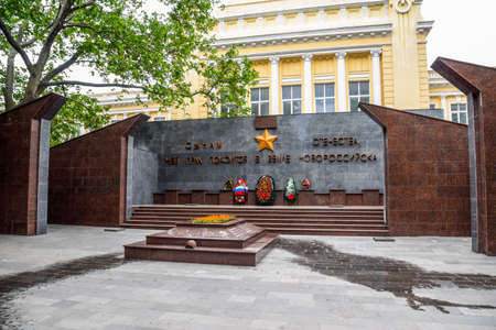 Novorossiysk, Russia - May 20, 2018: Sons of the fatherland who died on the land of Novorossiysk. Monument in honor of the victory in the great Patriotic war. Éditoriale