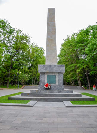 Novorossiysk, Russia - May 20, 2018: The monument, built in honor of the twentieth anniversary of the liberation of Novorossiysk from the White Guard gangs and interventionists.