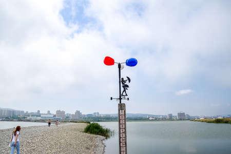 Novorossiysk, Russia - May 20, 2018: Wind pointer on the beach of Novorossiysk Aleksino.