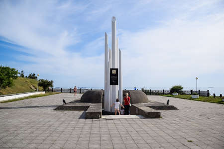Novorossiysk, Russia - May 20, 2018: Monument dedicated to the shipwreck victims Admiral Nakhimov August 31, 1986
