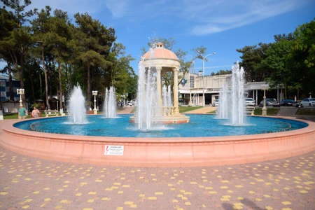 Novorossiysk, Russia - May 20, 2018: Fountain in Kabardinka made in antique style.
