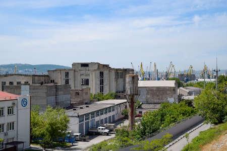 Novorossiysk, Russia - May 20, 2018: Industrial seaport of the city of Novorossiysk, industrial zone. Éditoriale