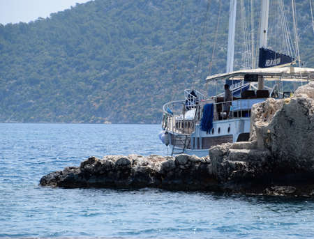 Demre, Turkey - May 21, 2019: The ruins of the city of Mira, Kekova, an ancient megalithic city destroyed by an earthquake.