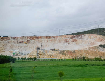 Marble quarry quarrying white marble in an open pit