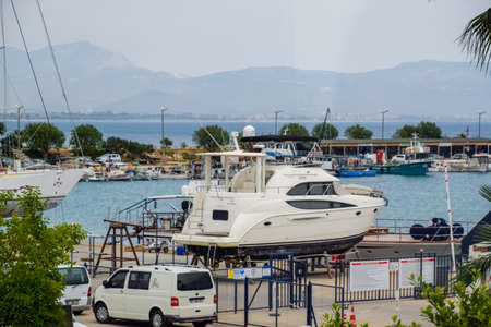 Demre, Turkey - May 21, 2019: bay with parking for yachts and boats.
