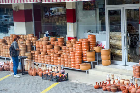 Antalya, Turkey - May 21, 2018: clay pots and amphora pottery. Sale of pottery.