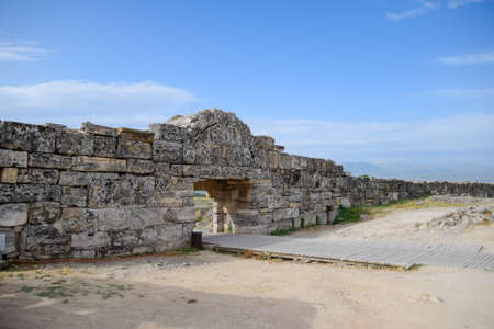 The walls of the ancient ruins of limestone blocks. Ruins of the city of Hierapolis, Turkey. Stock fotó