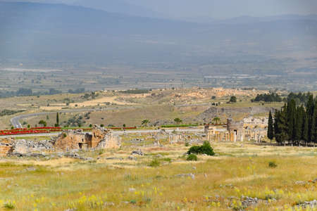 Antique ruins and limestone blocks in Hierapolis, Turkey. Ancient antique city.