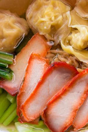 Egg noodle soup with red roast pork