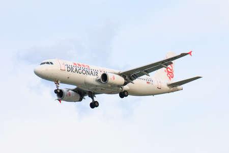 CHIANGMAI THAILAND - SEPTEMBER 2017 Dragon Air airplane landing at Chiangmai international airport in Afternoon day on September 4,2017 in Chiangmai Thailand Editorial