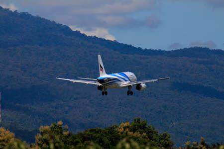 CHIANGMAI THAILAND - SEPTEMBER 2017 Bangkok Airways airplane landing at Chiangmai international airport in Morning day on September 20,2017 in Chiangmai Thailand Editorial