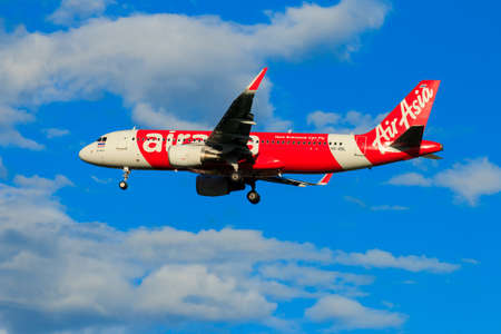 CHIANGMAI THAILAND - SEPTEMBER 2017 Thai Airasia airplane landing at Chiangmai international airport in Afternoon day on October 20,2017 in Chiangmai Thailand Editorial