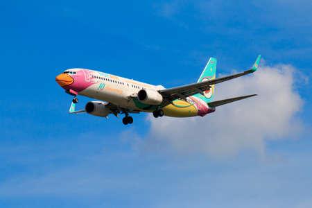 CHIANGMAI THAILAND - SEPTEMBER 2017 Nok Air airplane landing at Chiangmai international airport in Afternoon day on September 20,2017 in Chiangmai Thailand